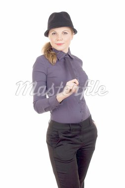 Portrait of a beautiful young woman holding tie in hand Stock Photo - Royalty-Free, Artist: Vankad                        , Code: 400-04312230