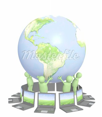 3d puppets with laptops on Earth - over white Stock Photo - Royalty-Free, Artist: frenta                        , Code: 400-04312332