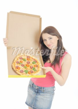 Pretty young casual girl with tasty pizza in delivery paper box. isolated on white background Stock Photo - Royalty-Free, Artist: smartfoto                     , Code: 400-04312751