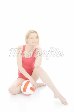 Beautiful sporty girl with volleyball ball. isolated on white background Stock Photo - Royalty-Free, Artist: smartfoto                     , Code: 400-04312763
