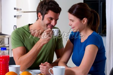 couple having breakfast in the kitchen Stock Photo - Royalty-Free, Artist: ambro                         , Code: 400-04313711