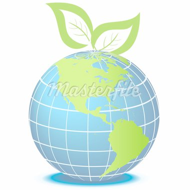 Globe facing Americas with green leaves Stock Photo - Royalty-Free, Artist: soleilc                       , Code: 400-04314517