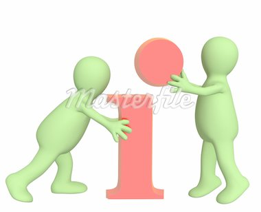 Puppets with information symbol. Object over white Stock Photo - Royalty-Free, Artist: frenta                        , Code: 400-04318113
