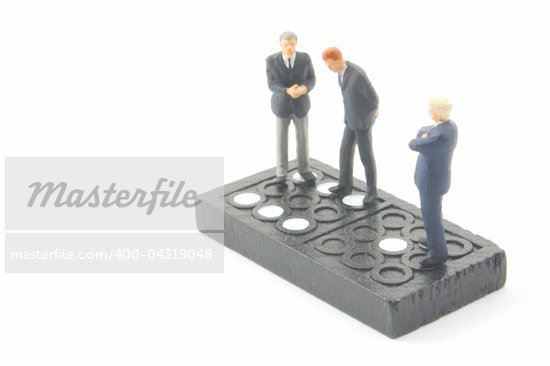 business man on domino isolated on white background Stock Photo - Royalty-Free, Artist: gunnar3000                    , Code: 400-04319048
