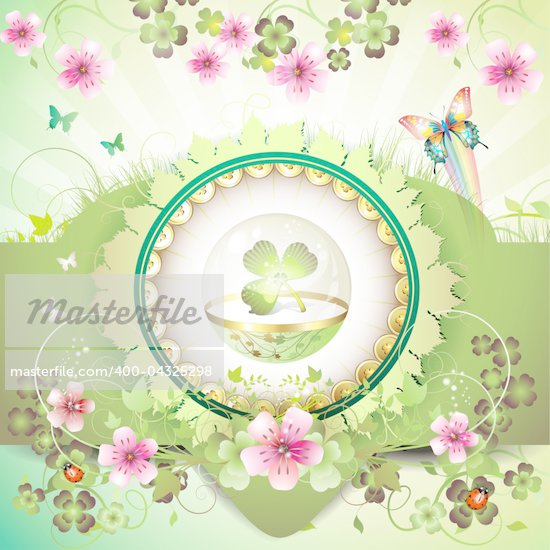 St. Patrick's Day card, clover in glass globe with flowers and butterflies Stock Photo - Royalty-Free, Artist: Merlinul                      , Code: 400-04325298