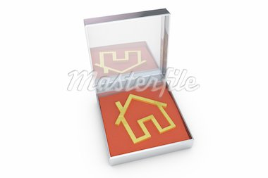 Golden house symbol on a metal box Stock Photo - Royalty-Free, Artist: pixelfabrik                   , Code: 400-04328519