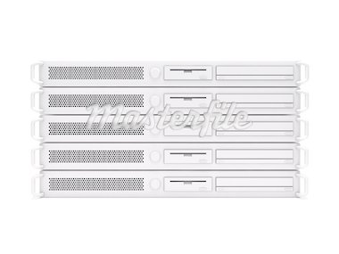 3D rendering of a stack of rack servers Stock Photo - Royalty-Free, Artist: cnapsys                       , Code: 400-04330995