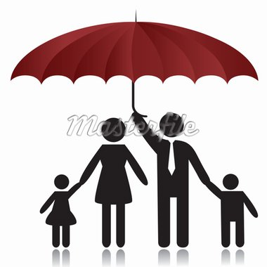 Silhouettes of woman, man, children, family under umbrella cover.Vector illustration Stock Photo - Royalty-Free, Artist: svetap                        , Code: 400-04331419