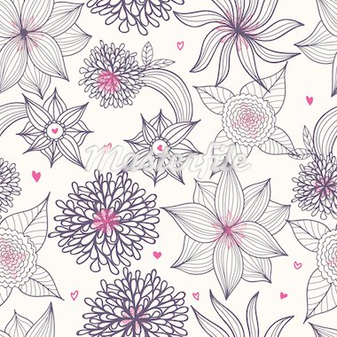 Floral seamless pattern in vector Stock Photo - Royalty-Free, Artist: sashayezik                    , Code: 400-04333967
