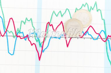 Business diagram on financial report with coins Stock Photo - Royalty-Free, Artist: merznatalia                   , Code: 400-04334515