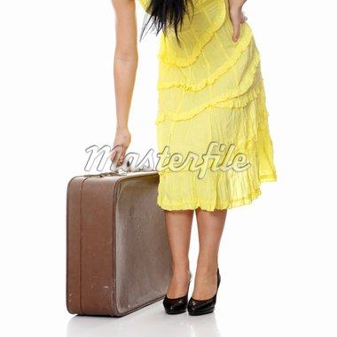 Caucasian woman legs with travel case isolated on white background Stock Photo - Royalty-Free, Artist: BDS                           , Code: 400-04335077