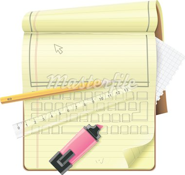 Extralarge detailed notepad icon with pencil, ruler, highlighter and computer keyboard and screen drawing Stock Photo - Royalty-Free, Artist: tele52                        , Code: 400-04337409