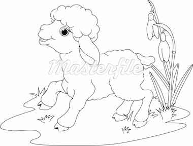 Easter lamb on the meadow. Coloring page Stock Photo - Royalty-Free, Artist: Dazdraperma                   , Code: 400-04337947