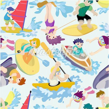 seamless water sport pattern Stock Photo - Royalty-Free, Artist: notkoo2008                    , Code: 400-04338813