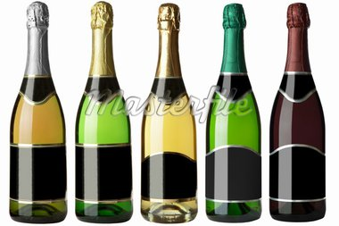 Set 5 bottles of wine with black labels isolated on white background. More - in my portfolio Stock Photo - Royalty-Free, Artist: krasyuk                       , Code: 400-04344058