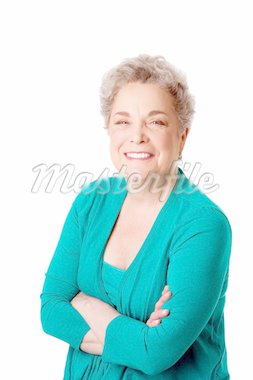 Beautiful Happy smiling senior woman with gray hair and arms crossed, isolated. Stock Photo - Royalty-Free, Artist: phakimata                     , Code: 400-04344212