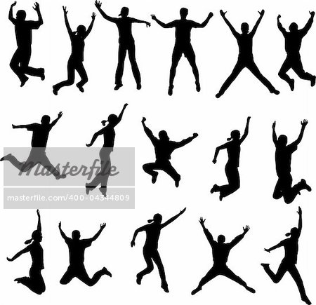 jumping people silhouettes - vector