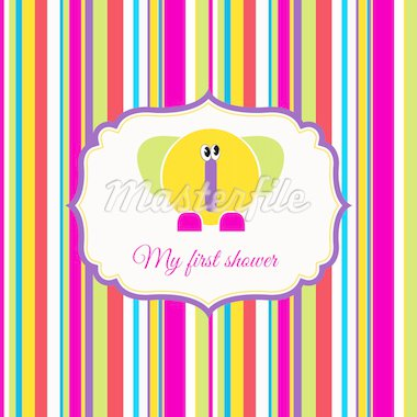 baby shower announcement card with elephant Stock Photo - Royalty-Free, Artist: balasoiu                      , Code: 400-04344839