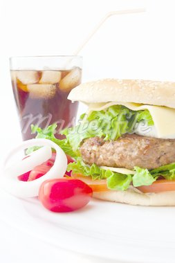 Cheese burger with cola on white background Stock Photo - Royalty-Free, Artist: trexec                        , Code: 400-04346121