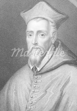 William Allen (1532-1594) on engraving from the 1800s. English Roman Catholic priest and cardinal. Engraved by  J.Jenkins and published by Fisher, Son & Co, London. Stock Photo - Royalty-Free, Artist: Georgios                      , Code: 400-04346998