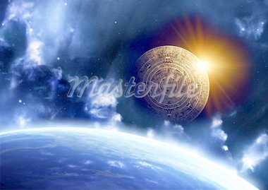 Horizontal background with Maya calendar and Earth Stock Photo - Royalty-Free, Artist: frenta                        , Code: 400-04347675