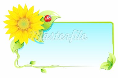 illustration of flower around blank card with lady bug on white background Stock Photo - Royalty-Free, Artist: vectomart                     , Code: 400-04347873
