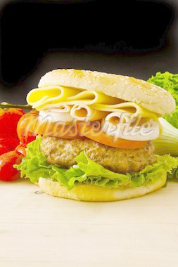 Cheese burger with ham on black background Stock Photo - Royalty-Free, Artist: trexec                        , Code: 400-04349053