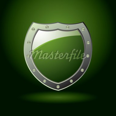 Modern green shield offering protection with illuminated background Stock Photo - Royalty-Free, Artist: Nicemonkey                    , Code: 400-04350227
