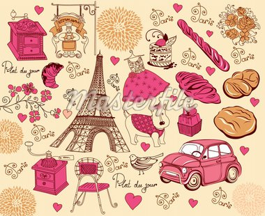 Hand drawing collection symbols of Paris Stock Photo - Royalty-Free, Artist: marinakim                     , Code: 400-04351952