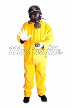 Policeman in Hazmat clothing with gieger counter isolated over white background Stock Photo - Royalty-Free, Artist: jeffbanke                     , Code: 400-04357323