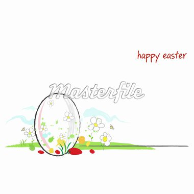 happy easter vector card. The illustration works great as a website header also or as a horizontal or squared banner. A lot of copy space to add your own easter message! Stock Photo - Royalty-Free, Artist: EXILE                         , Code: 400-04358903