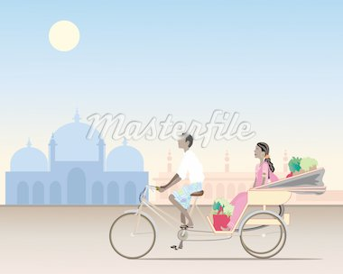 an illustration of a traditional rickshaw with an asian man cycling carrying a female passenger and shopping in an exotic setting Stock Photo - Royalty-Free, Artist: emjaysmith                    , Code: 400-04361829