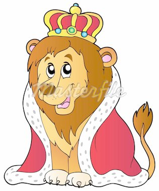 Cartoon lion in king outfit - vector illustration. Stock Photo - Royalty-Free, Artist: clairev                       , Code: 400-04365833