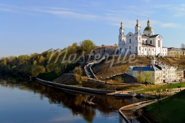 Belarus nice Vitebsk spring landscape view of St. Uspenski Cathedral over western Dvina and Vitba river Stock Photo - Royalty-Free, Artist: mrVitkin                      , Code: 400-04365932