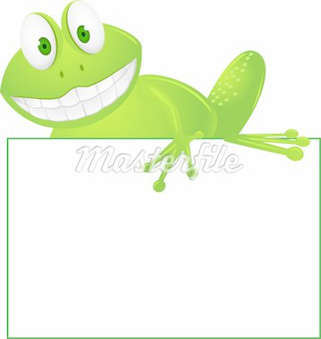 Cute frog and blank sign Stock Photo - Royalty-Free, Artist: dagadu                        , Code: 400-04367645