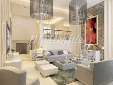 Interior fashionable living-room rendering Stock Photo - Royalty-Free, Artist: baojia1998                    , Code: 400-04370973