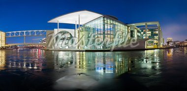 Berlin Building over Water at Night Stock Photo - Royalty-Free, Artist: stoka79                       , Code: 400-04372323