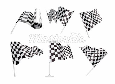 Checkered Flags set illustration on white background. Stock Photo - Royalty-Free, Artist: sermax55                      , Code: 400-04373829