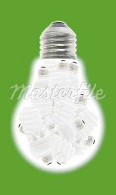 Conceptual image of a group of energy saving light bulbs inside incandescent bulb Stock Photo - Royalty-Free, Artist: Design56                      , Code: 400-04376179