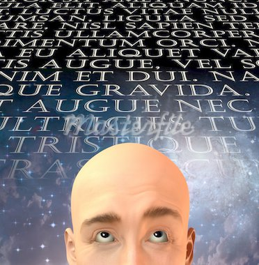 Mans head with text in old latin Stock Photo - Royalty-Free, Artist: rolffimages                   , Code: 400-04376761
