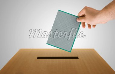 Human hand insert the electoral document on urn for voting Stock Photo - Royalty-Free, Artist: jordygraph                    , Code: 400-04377925