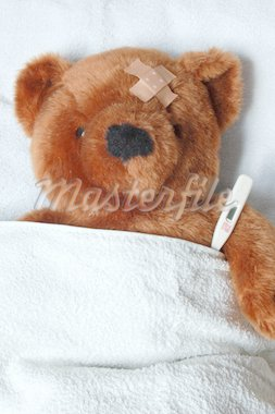 sick teddy bear with injury in a bed in the hospital Stock Photo - Royalty-Free, Artist: gunnar3000                    , Code: 400-04378383