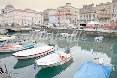 Canal grande and Port in the city, Trieste, Italia Stock Photo - Royalty-Free, Artist: vladacanon                    , Code: 400-04379237