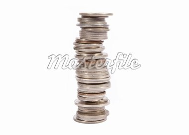 Stacked old silver coins on white background Stock Photo - Royalty-Free, Artist: eyematrix                     , Code: 400-04379250