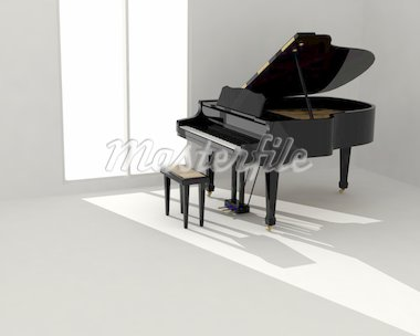 Black classic piano in empty white room Stock Photo - Royalty-Free, Artist: Iraidka                       , Code: 400-04379266