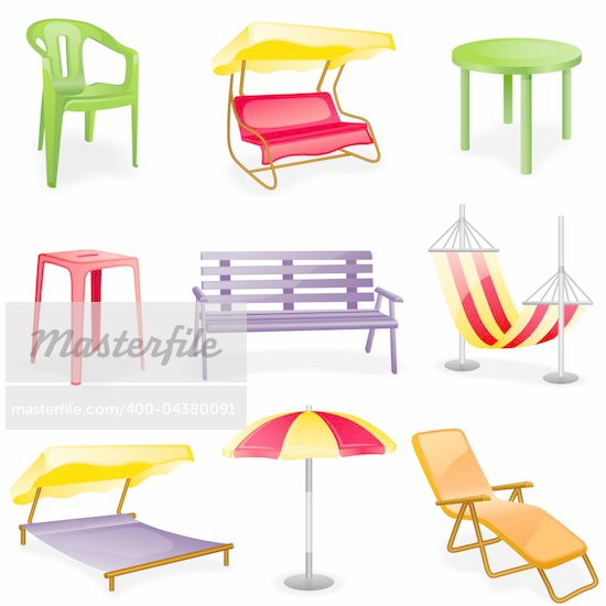 Garden furniture icon set.  Isolated on a white background. Stock Photo - Royalty-Free, Artist: Filata                        , Code: 400-04380091