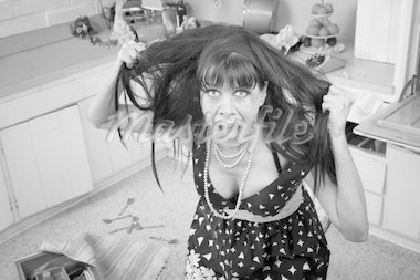 Desperate housewife pulling her hair in a messy kitchen Stock Photo - Royalty-Free, Artist: creatista                     , Code: 400-04381945