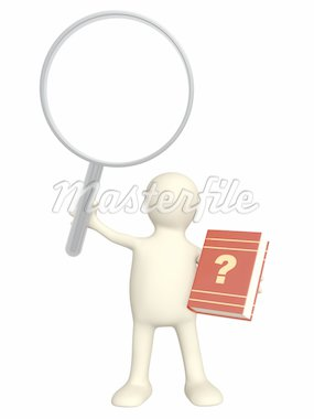 Puppet with book and loupe. Objects isolated over white Stock Photo - Royalty-Free, Artist: frenta                        , Code: 400-04382640