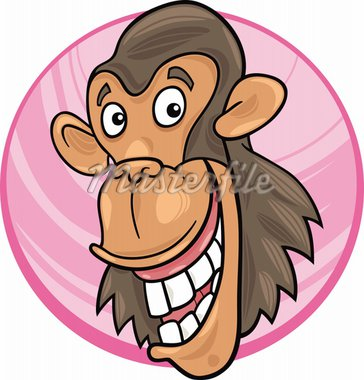 cartoon illustration of funny chimpanzee ape Stock Photo - Royalty-Free, Artist: izakowski                     , Code: 400-04383472