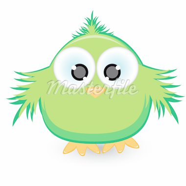 Cartoon green sparrow. Illustration on white background Stock Photo - Royalty-Free, Artist: dvarg                         , Code: 400-04384475